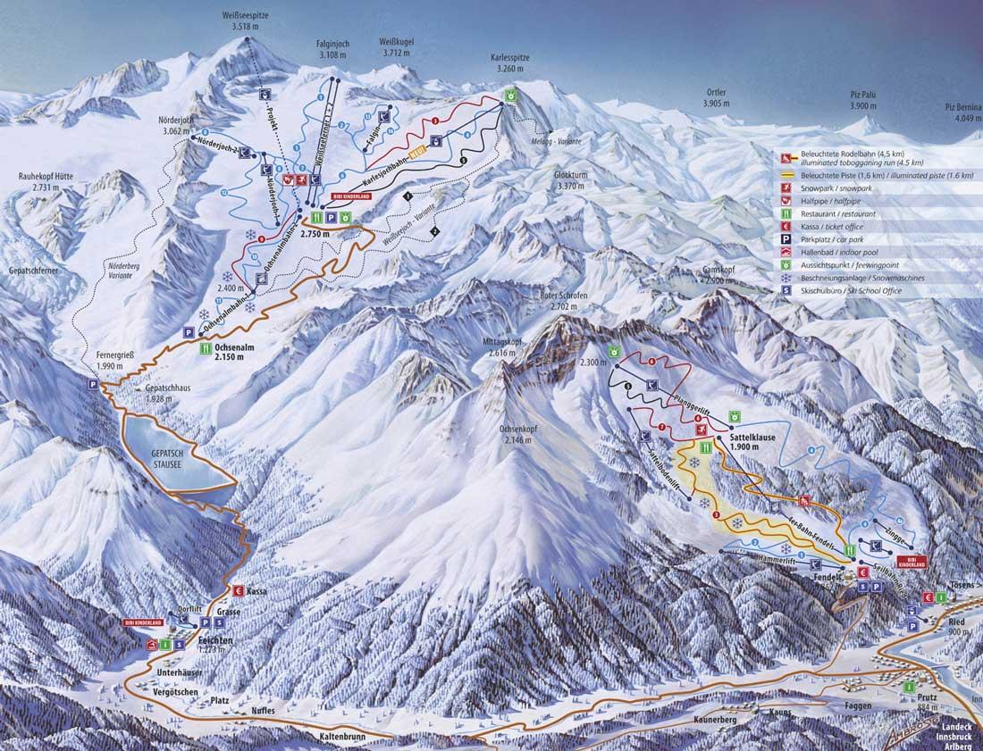 Plattegrond pisteplan van het skigebied van Ried en Fendels.