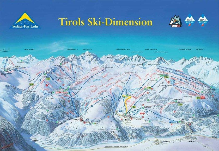 plattegrond van het skigebied Fiss-Serfaus-Ladis